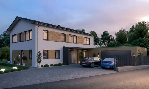 Exterior Architectural Rendering – Single Family House in Unterdietfurt – Front
