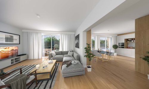 Interior Rendering – Residential Building in Massing – Living Space